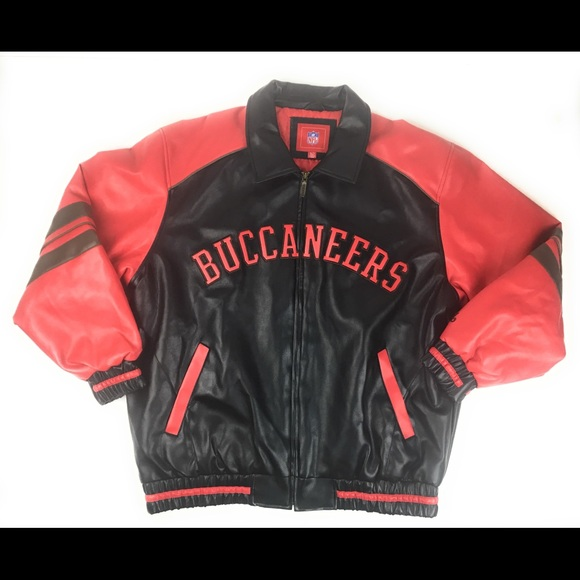 buy popular cf8d6 2655b Tampa Bay Buccaneers Faux Leather NFL Jacket XL